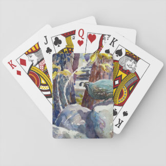 Quail on River Rock Playing Cards