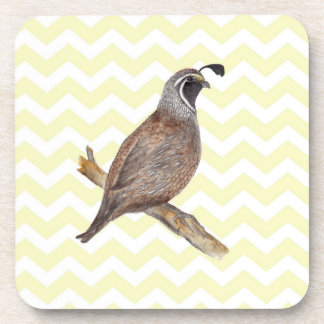 Quail watercolor painting on chevron pattern drink coasters