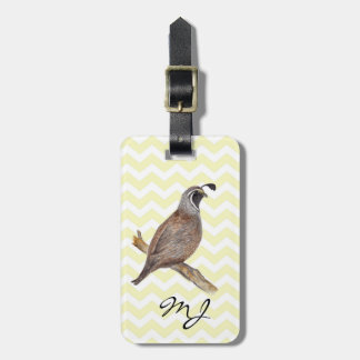 Quail watercolor painting on chevron pattern tags for luggage