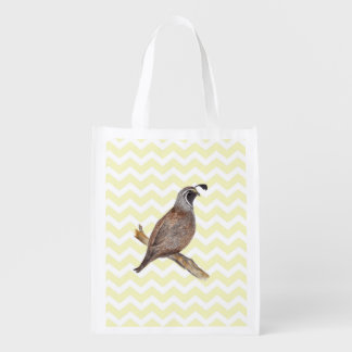 Quail watercolor painting on chevron pattern reusable grocery bags