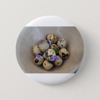 Quails eggs & flowers 7533 pinback button