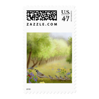 Quails in a Meadow Postage