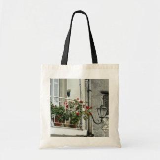 Quaint Balcony In Old Town Corfu flowers Bag