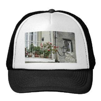 Quaint Balcony In Old Town Corfu flowers Trucker Hat