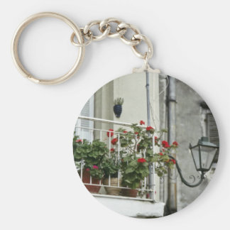 Quaint Balcony In Old Town Corfu flowers Key Chains