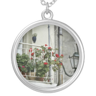 Quaint Balcony In Old Town Corfu flowers Necklace