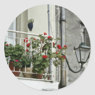 Quaint Balcony In Old Town Corfu flowers Round Stickers