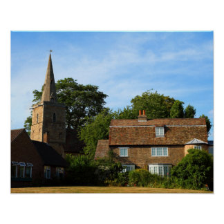 Quaint British Church and Home Poster