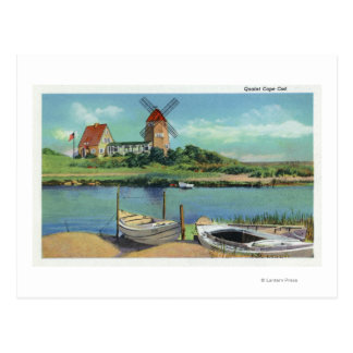 Quaint Cape Cod, View of Windmill and Boats Postcard