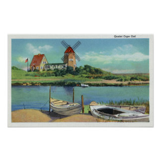 Quaint Cape Cod, View of Windmill and Boats Poster