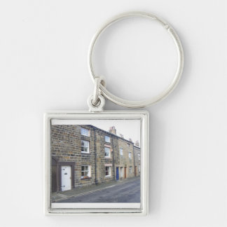 Quaint English Cottages Silver-Colored Square Keychain