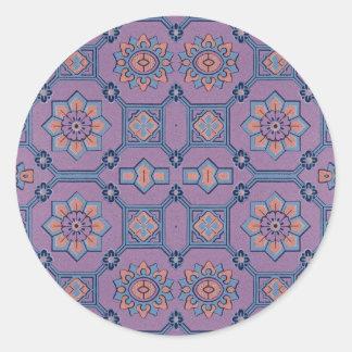 Quaint Geometric Floral Purple and Orange Classic Round Sticker