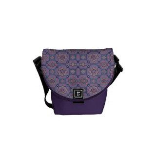 Quaint Geometric Floral Purple and Orange Courier Bag