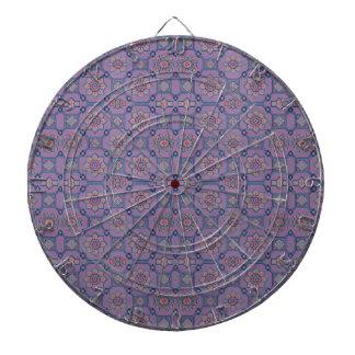 Quaint Geometric Floral Purple and Orange Dartboard