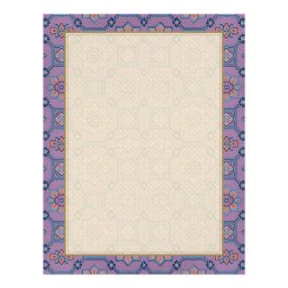 Quaint Geometric Floral Purple and Orange Letterhead