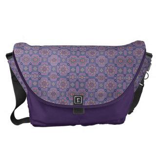 Quaint Geometric Floral Purple and Orange Messenger Bag