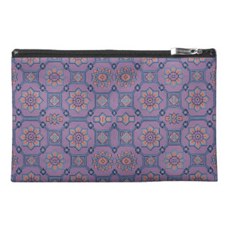 Quaint Geometric Floral Purple and Orange Travel Accessory Bag