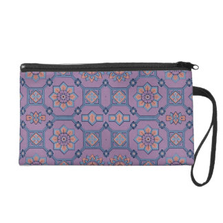 Quaint Geometric Floral Purple and Orange Wristlet Purse