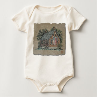 Quaint House & American Flag Baby Bodysuits
