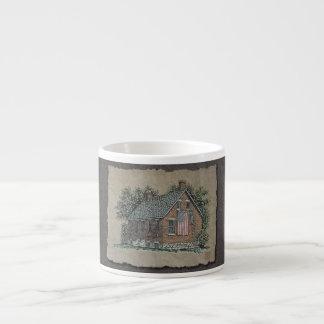 Quaint House & American Flag Espresso Cup