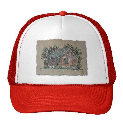 Quaint House & American Flag Mesh Hat