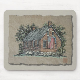 Quaint House & American Flag Mouse Pad