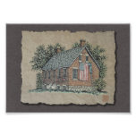 Quaint House & American Flag Photo Art