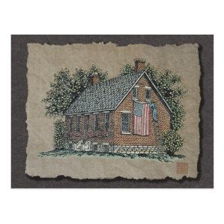 Quaint House & American Flag Postcard