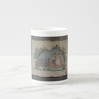 Quaint House & American Flag Porcelain Mug
