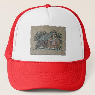 Quaint House & American Flag Trucker Hat