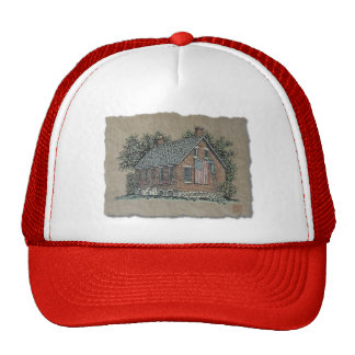 Quaint House & American Flag Trucker Hat