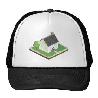 Quaint house with picket fence isometric view hats