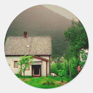 Quaint Norwegian Cottage Classic Round Sticker