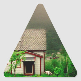 Quaint Norwegian Cottage Triangle Sticker