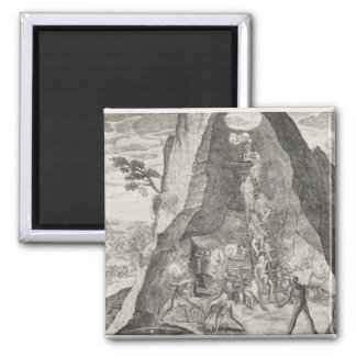 Quaint Picture of the Toilers in Mines of 2 Inch Square Magnet