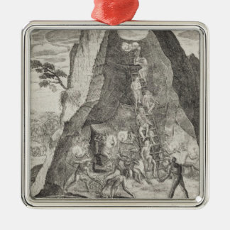 Quaint Picture of the Toilers in Mines of Metal Ornament