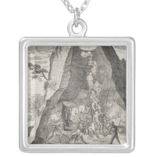 Quaint Picture of the Toilers in Mines of Square Pendant Necklace