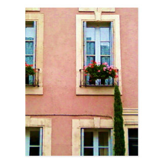 Quaint Pink French Windows Postcard