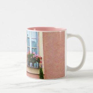 Quaint Pink French Windows Two-Tone Coffee Mug