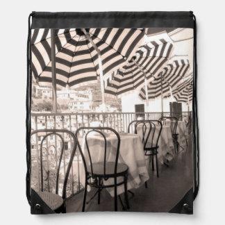 Quaint restaurant balcony, Italy Drawstring Backpack