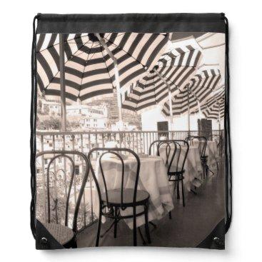 Professional Business Quaint restaurant balcony, Italy Drawstring Backpack