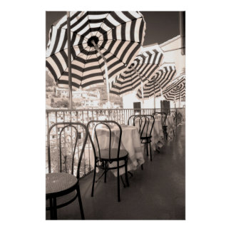 Quaint restaurant balcony, Italy Poster