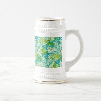 Quaint Spring Flowers Fabric Look 18 Oz Beer Stein