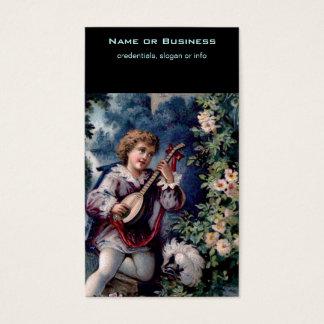 Quaint Vintage Mandolin Player Business Card