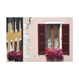 Quaint Window, Shutters, and Flower Boxes, France Canvas Print