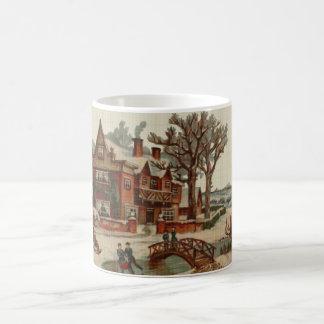 Quaint Winter Scene Cross Stitch Coffee Mug