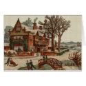 Quaint Winter Scene Cross Stitch Greeting Card