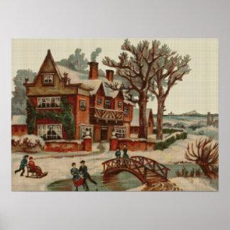 Quaint Winter Scene Cross Stitch Poster