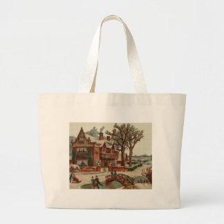 Quaint Winter Scene Cross Stitch Tote Bag