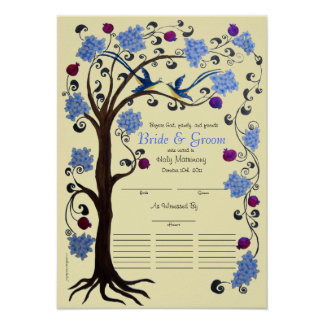 Quaker 21 guests wedding, Blue-ivory Tree of Life Poster